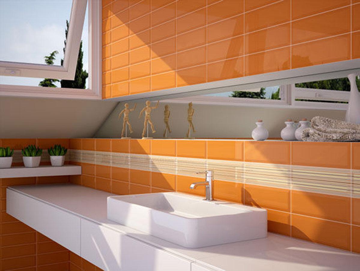 Faience murale metro naranja 15 x 7 5cm