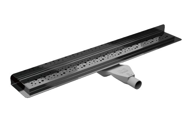 Canaline de douche italienne d'angle avec grille inox 80cm