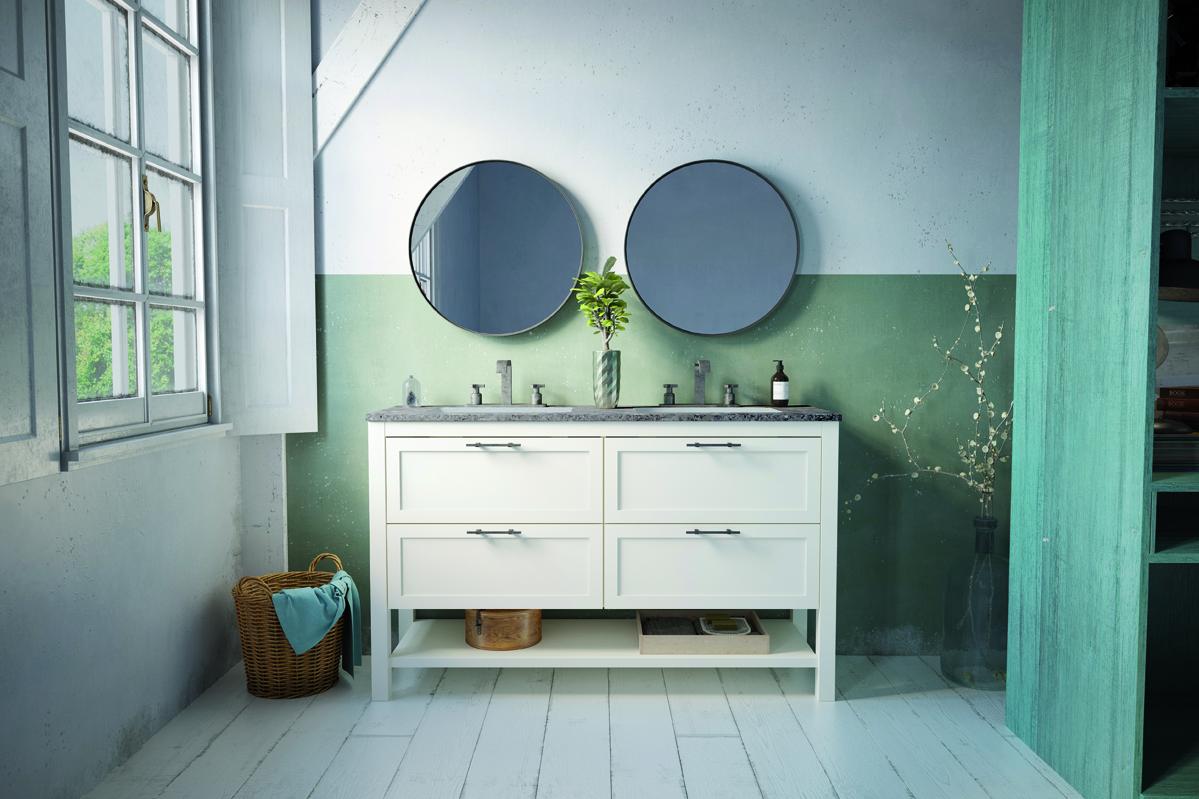 meuble de salle de bain modèle KANSAS 140cm Blanc cassé ...