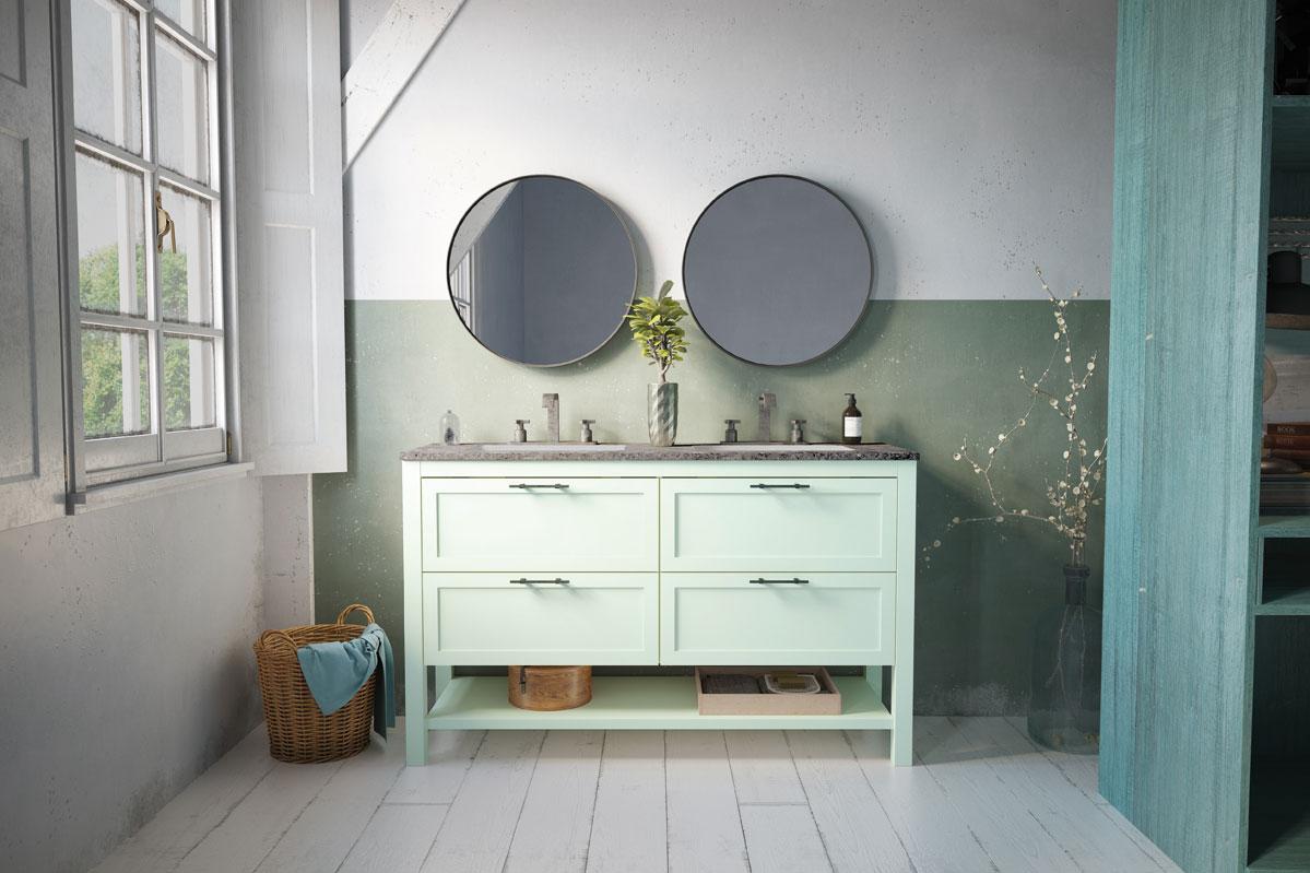 meuble de salle de bain modèle KANSAS 140cm vert mat ...