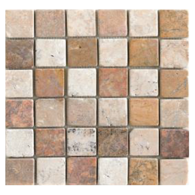 Mosaïque Parquet 5x5 white and pink
