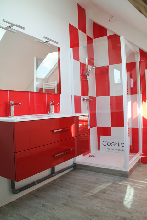 Carrelage moins cher du carrelage de grande taille pas cher for Carrelage salle de bain rouge et blanc